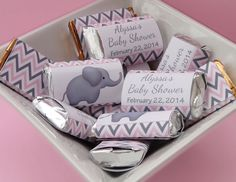 PERSONALIZED Mini Candy Bar Wrappers Baby Shower - Custom Made Chocolate Bar Party Favors - Pink Gray Chevron Elephant - Baby Girl - G002 on Etsy, $6.06 AUD