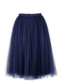 Tmavě modrá tylová midi sukně Little Mistress 728dd289d5