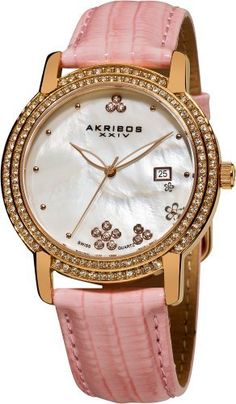 Akribos XXIV Women's AK555PK Swiss Quartz Crystal Mother-Of-Pearl Strap Watch Akribos XXIV. $99.00. Gold-tone stainless steel bezel with two rows of genuine crystals. Pink genuine patent leather strap. Mother of pearl dial with glittery accents. Water-resistant to 30 M (99 feet). Date displayed at 3 o'clock. Save 80% Off!