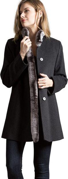 Overland Sheepskin Co Vivian Loro Piana Wool Coat With Rex Rabbit Fur Trim - best woman's fashion products designed to provide Rex Rabbit, Rabbit Fur, Wool Fabric, Fur Trim, Hand Warmers, Wool Coat, Merino Wool, Jackets For Women, Coats