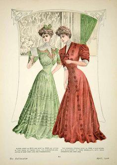 1906 Offset Lithograph Art Nouveau Delineator Edwardian Ladies Clothing Style