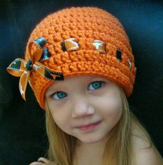 Crochet Beanie with ribbon and bow.