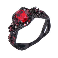 Classic Ring Black Gold Filled Red CZ Finger Rings For Women Bohemian Girlfriend Wedding Christmas Jewelry Anel Aneis RB0435