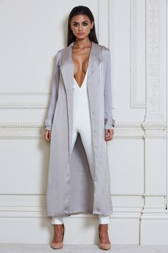 Cora Satin Trench Coat - Grey Sophia Miacova, Satin Duster, Summer Coats, Black Tights, Autumn Fashion, Style Inspiration, Stylish, How To Wear, Outfits