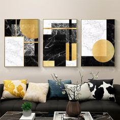Framed Wall Art Set of 3 Prints Geometric Gold Black Abstract Print on Canvas Gold Art Framed Large Wall Art Pictures Cuadros Abstractos Wall Art Sets, Large Wall Art, Framed Wall Art, Wall Canvas, Abstract Wall Art, Abstract Print, Black Abstract, Rooms Home Decor, Gold Art