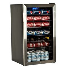 "EdgeStar Supreme Cold Beverage Cooler by LIVING DIRECT,INC. $230.99. Stainless steel trim tempered glass door; Reversible door. Powerful compressor-based cooling; Internal fan helps maintain even temperatures; Temperature range: Low 30s - mid 50s ºF. Interior Dimensions: 28 3/4"" H x 15 1/2"" W x 14 1/4"" D. Six (6) fully removable, slide-out chrome shelves; Bottom of cabinet holds 28 cans. Exterior Dimensions: 33"" H x 19"" W x 18 1/4"" D. EdgeStar Supreme Cold Beverage Cooler. Unli..."