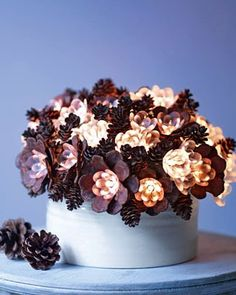 DIY: PINE CONE lamp, so easy. I'm going to try to make this, I have plenty of cones on my backyard.