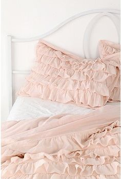 urban outfitters waterfall pillow shams $49--wonder if hubby will afraid waking up as a woman sleeping on such girl's beddings. :p -light blue (Ayslin)