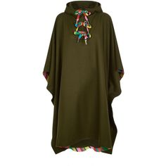 Mira Mikati Appliqué Scout Badge Poncho (€1.020) ❤ liked on Polyvore featuring outerwear, style poncho, mira mikati, brown poncho and summer poncho