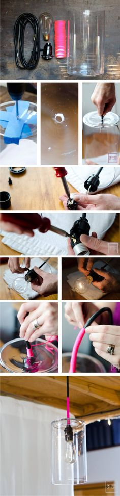 DIY Vase Pendant Light - mypatternoflife.com - Lámpara DIY con florero de vidrio