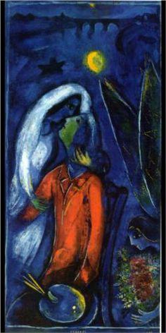 Lovers near Bridge - Marc Chagall  Completion Date: 1948  Place of Creation: France  Style: Naïve Art (Primitivism)  Genre: genre painting  Technique: oil  Material: canvas  Dimensions: 99 x 47 cm  Gallery: Private Collection