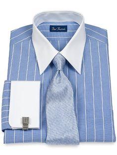 Amazon.com: Paul Fredrick Men's End on End Straight Collar French Cuffs Dress Shirt: Clothing