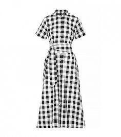 Black/White Plaid dress with a nice highheeled black dress shoe with strap would be a great outfit.
