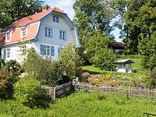 Gabriele Munter's White, two-story home in Murnau with attic and a garden