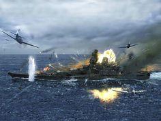 IJN battleship Yamato under attack @ Okinawa, her final battle!
