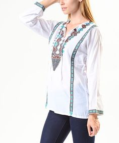 Look at this Como No? by Biz White & Turquoise Tribal-Embroidered Notch Neck Top on #zulily today!