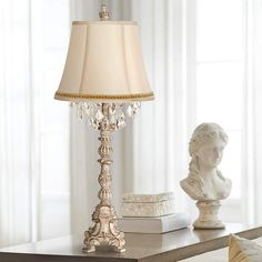 Duval French Crystal Table Lamp with Two Tone Braid Trim - Style # Blue Table Lamp, Table Lamps For Bedroom, Table Lamp Base, A Table, Traditional Console Tables, Stained Glass Light, Vintage Table, Shabby Chic Furniture, Candlesticks