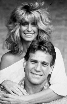 Ryan O'Neal and Farrah Fawcett---Poor Farrah passed away from cancer  the same day as Michael Jackson.   Ryan was at her side.