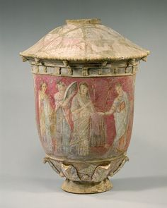 Centurpine Sicily, Greek funerary vase a wedding scene set against a rich rose-pink background. 3rd-2nd C. BCE.