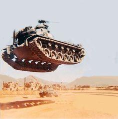 "roninart-tactical: "" h8muhsheen: "" vicroc4: "" bmashina: ""Levitating American medium tank М48А3. The war in Vietnam, 1964-1975. "" magic "" I hear dukes of hazard narration in the back ground ""What the boys didn't know…."" "" YEEEEEEHAAA """