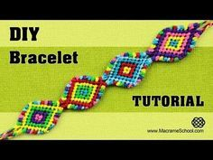 How to make a Colorful ZigZag Wave Bracelet (Tutorial). This bracelet is easy to make and it looks interesting. More Macrame Brac. Armband Tutorial, Bracelet Tutorial, Friendship Bracelets Tutorial, Friendship Bracelet Patterns, Diy Tutorial, Macrame Knots, Macrame Jewelry, Macrame Bracelets, Loom Bracelets