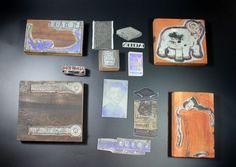 Vintage Engraving Press Wood Metal Blocks and Metal Cutout Plates Very Nice!