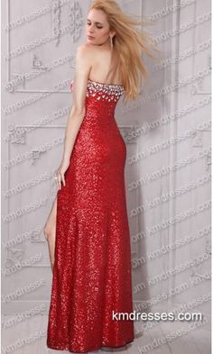 Aluring chic crystal embellished strapless sweetheart mid thigh slit sequined gown.prom dresses,formal dresses,ball gown,homecoming dresses,party dress,evening dresses,sequin dresses,cocktail dresses,graduation dresses,formal gowns,prom gown,evening gown.