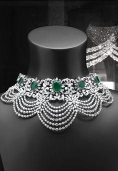 Emerald, Diamond and Platinum Choker Necklace Emerald Jewelry, Diamond Jewelry, Beaded Jewelry, Emerald Diamond, Lotus Jewelry, Pearl Jewelry, Metal Clay Jewelry, Fine Jewelry, Jewelry Art