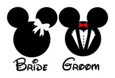 Personalized Bride AND Groom Mickey and Minnie Mouse DIY Iron on Decal. $15.00, via Etsy.