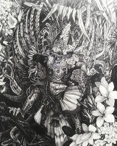 """On instagram by sunriseartgalleryandarcade #arcade #microhobbit (o) http://ift.tt/1OF9Tdd : """"Garuda"""" Artist : Maiko Kitagawa Medium : Ballpoint Pen on Paper Size : 35.5x26.5cm Year : 2015---- Her recent artworks are mostly painted in black and white to express the deepness of the dark forest where animal and creatures live in.---- #arts #fineart #visualart #drawings #pen #ballpoint #paper #ballpointonpaper #blackandwhite #japaneseartis #kitagawa #maiko #kitagawamaiko…"""