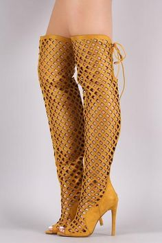 ELNORA1 YELLOW OPEN TOE MULTI DIAMOND CUT OUT LACE UP BOOT ONLY $25.88