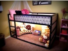 Kids rooms - great way to utilize space in a small room. Ikea bed- Turned upside down the bed quickly converts from a low to a high bed.