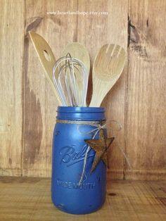Mason Jar Utensil Crock  Painted Distressed by HeartlandHope