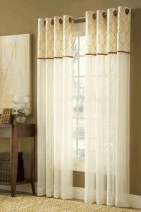 Contempo Sheer Grommet Panel By Stylemaster, Is A Ivory Sheer Panel With An  Embroidered Band