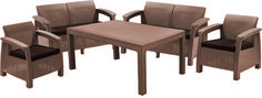 Метки: Плетеные кресла для дачи, Садовые диваны из ротанга, Садовые кресла из ротанга.              Материал: Пластик.              Бренд: Keter.              Стили: Классика и неоклассика.              Цвета: Бежевый, Коричневый.