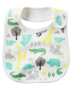 Keeping feeding time playful, this soft cotton bib features an easy hook and loop closure and an allover animal print.