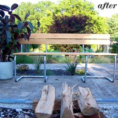 Brilliant DIY outdoor bench made from two contemporary modern outdated old metal frame chairs and some wood planks; upcycle, recycle, salvage, diy, repurpose!  For ideas and goods shop at Estate ReSale & ReDesign, Bonita Springs, FL