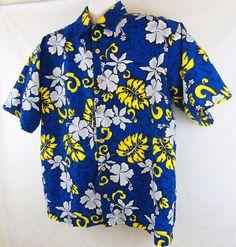 Men's ODO Hawaiian Shirt Size XL Blue Yellow White Floral Design Casual Clothing #ODO #Hawaiian