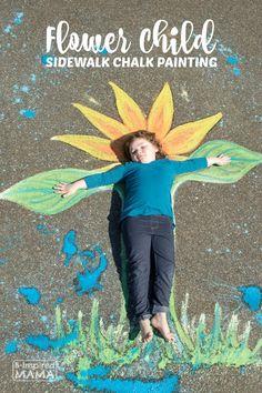 Flower Child Sidewalk Chalk Art - A Beautiful Summer Kids Photo Op Idea - at B-Inspired Mama Nature Activities, Summer Activities For Kids, Summer Kids, Outdoor Activities, Fun Activities, Summer 2016, Creative Arts And Crafts, Creative Kids, Sidewalk Chalk Paint