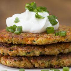 Here's what you need: chickpeas, zucchini, carrot, egg, whole wheat panko, fresh basil, garlic powder, salt, pepper, olive oil, plain greek yogurt, green onion