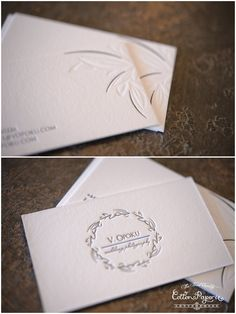 Custom Letter Press Business Card with blind deboss. Printed on 100% Cotton Paper