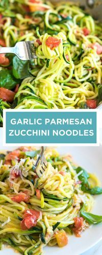 This is my current favorite way to cook zucchini noodles! Zoodles or long spaghetti-like strands made from zucchini is light on the carbs and still 100% delicious (especially when they are cooked with a sauce made from tomatoes, garlic and fresh basil). W
