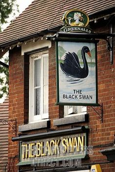 the swan english pub | Stock Photography image of The Black Swan , pub sign in Shefford ...