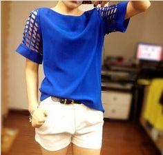 28b0755759 2014 novo chiffon mulheres camisas blusas da moda plus size desgaste do  verão esvazie blusas manga