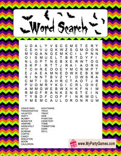 free printable halloween word search game - Halloween Word Game
