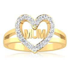Solid 14K Gold with Diamonds Ring in minimalist and dainty style. #Mother #Ring
