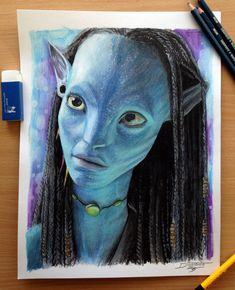 Neytiri Color Pencil Drawing It was super fun to experiment with the blue color pencils ^^ There is one part on this painting that i screwed up but if you dont know what it is you will not even not...