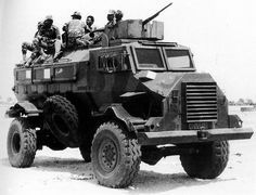 A Koevoet team rides in a Casspir APC, a heavier duty APC than the Buffel. Armored Vehicles, Armored Car, Bug Out Vehicle, Brothers In Arms, Defence Force, Special Forces, Cold War, Military History, Military Vehicles