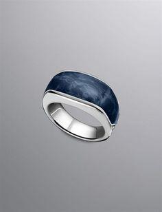 David Yurman Exotic Stone ring for men, narrow: pietersite, silver