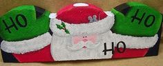 The Decorative Painting Store: Ho Ho Ho Santa Landscape Border Painted Bricks Crafts, Brick Crafts, Painted Pavers, Painted Stones, Landscape Pavers, Landscape Borders, Garden Pavers, Brick Art, Tole Painting Patterns
